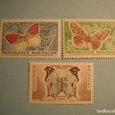 Sellos: MADAGASCAR - REPUBLIQUE MALGACHE - MARIPOSAS, COLOTIS ZOE, ACRAEA HOVA Y SALAMIS DUPREI.. Lote 224589888