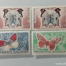 Sellos: LOTE DE 4 SELLOS NUEVOS DE MADAGASCAR DE 1960- YVERT 341,342 Y 343- SERIE MARIPOSAS. Lote 226078230