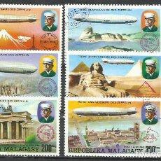 Sellos: 9360J-2 SERIES COMPLETAS 1976 CORREO AEREO Y ORDINARO MADAGASCAR ZEPPELIN. REPUBLICA MALAGASY. Nº58. Lote 229098540