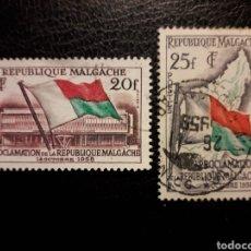 Selos: MADAGASCAR YVERT 338/9 SERIE COMPLETA USADA 1959. BANDERAS. PEDIDO MÍNIMO 3 €. Lote 244275110