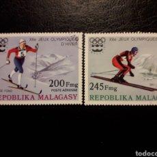 Selos: MADAGASCAR YVERT A-160/1 SERIE CTA USADA 1975 DEPORTES OLIMPIADA INNSBRUCK ESQUÍ. PEDIDO MÍNIMO 3 €. Lote 244416115
