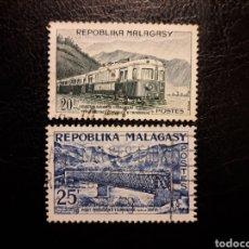 Timbres: MADAGASCAR YVERT 360/1 SERIE COMPLETA USADA 1962. TRENES. PUENTES. PEDIDO MÍNIMO 3 €. Lote 244457680