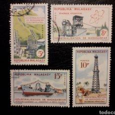 Sellos: MADAGASCAR YVERT 372/5 SERIE COMPLETA USADA 1962. INDUSTRIAS. INDUSTRIALIZACIÓN. PEDIDO MÍNIMO 3 €. Lote 244458100