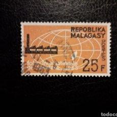 Sellos: MADAGASCAR YVERT 376 SERIE COMPLETA USADA 1963. FERIA INDUSTRIAL. PEDIDO MÍNIMO 3 €. Lote 244458135