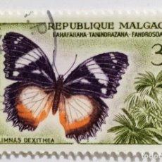 Sellos: SELLO DE MADAGASCAR 3 F - 1960 - MARIPOSAS - USADO SIN SEÑAL DE FIJASELLOS. Lote 245384715