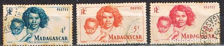 MADAGASCAR (COLONIA FRANCESA) IVERT Nº 311/3 (1946), TIPOS MALGACHES, USADO (Sellos - Extranjero - África - Madagascar)