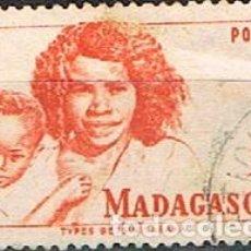 Sellos: MADAGASCAR (COLONIA FRANCESA) IVERT Nº 313 (1946), TIPOS MALGACHES, USADO. Lote 250211440