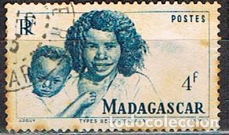 MADAGASCAR (COLONIA FRANCESA) IVERT Nº 312 (1946), TIPOS MALGACHES, USADO (Sellos - Extranjero - África - Madagascar)