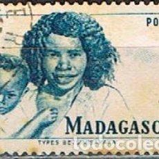 Sellos: MADAGASCAR (COLONIA FRANCESA) IVERT Nº 312 (1946), TIPOS MALGACHES, USADO. Lote 250211640