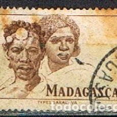 Sellos: MADAGASCAR (COLONIA FRANCESA) IVERT Nº 306 (1946), TIPOS MALGACHES, USADO. Lote 250211850