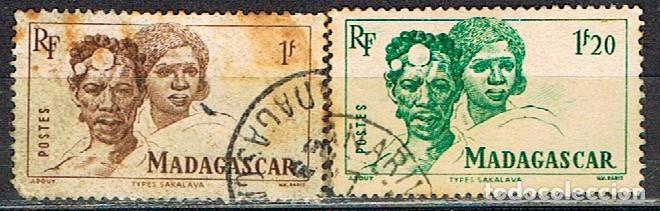 MADAGASCAR (COLONIA FRANCESA) IVERT Nº 306/7 (1946), TIPOS MALGACHES, USADO (Sellos - Extranjero - África - Madagascar)