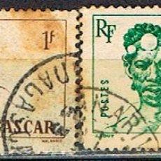 Sellos: MADAGASCAR (COLONIA FRANCESA) IVERT Nº 306/7 (1946), TIPOS MALGACHES, USADO. Lote 250211965
