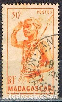 MADAGASCAR (COLONIA FRANCESA) IVERT Nº 301 (1945), BAILARIN DEL SUR, USADO (Sellos - Extranjero - África - Madagascar)