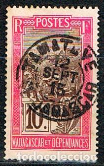 MADAGASCAR (COLONIA FRANCESA) IVERT Nº 98 (1908), TRANSPORTE EN PALANQUIN, USADO (Sellos - Extranjero - África - Madagascar)