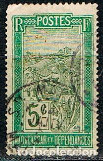 MADAGASCAR (COLONIA FRANCESA) IVERT Nº 97 (1908), TRANSPORTE EN PALANQUIN, USADO (Sellos - Extranjero - África - Madagascar)