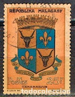 MADAGASCAR IVERT Nº 392, ESCUDO DE TANANARIVE, USADO (Sellos - Extranjero - África - Madagascar)