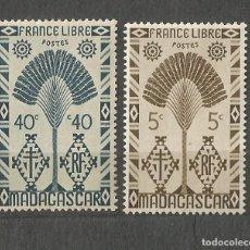 Sellos: MADAGASCAR - FRANCE LIBRE - 1943 - 2 VALORES NUEVOS. Lote 254628445