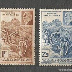 Sellos: MADAGASCAR Y DEPENDENCIAS - 1941 - PETAIN - 2 VALORES - NUEVOS. Lote 254629035