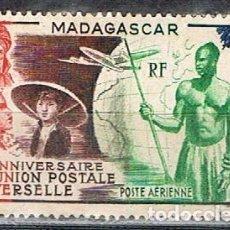 Sellos: MADAGASCAR (COLONIA FRANCESA), AEREO IVERT Nº 72, 75 ANIVERSARIO DE LA UNIÑON POSTAL UNIVERSAL, USAD. Lote 265333499