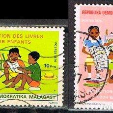 Sellos: MADAGASCAR, IVERT Nº 593 Y 594, LIBROS PARA LOS NIÑOS, USADO. Lote 265336684