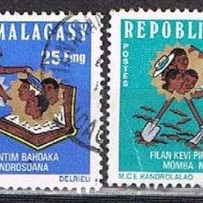 Sellos: MADAGASCAR, IVERT Nº 553/4, CONSEJO NACIONAL PARA EL DESARROLLO, USADO (SERIE COMPLETA). Lote 265338939
