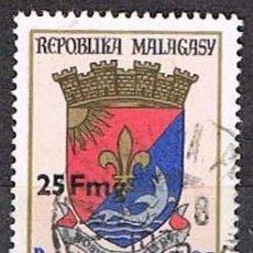 Sellos: MADAGASCAR, IVERT Nº 540, ESCUDO SOBRECARGADOI CON NUEVO VALOR, USADO. Lote 265340214