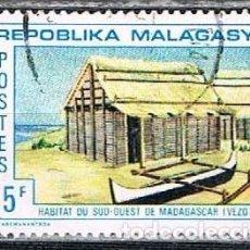 Sellos: MADAGASCAR, IVERT Nº 493, HABITAT DEL SUR DE MADAGASCAR, USADO. Lote 265341599