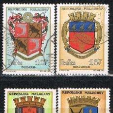 Sellos: MADAGASCAR, IVERT Nº 389/92, ESCUDOS, USADO. Lote 265487944