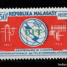 Sellos: MADAGASCAR 406** - AÑO 1965 - CENTENARIO DE LA UNION INTERNACIONAL DE TELECOMUNICACIONES. Lote 271414233