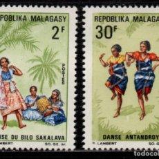 Sellos: MADAGASCAR 443/44** - AÑO 1967 - FOLKLORE - DANZAS. Lote 271418123