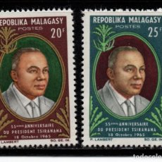 Sellos: MADAGASCAR 408/09** - AÑO 1965 - 55º ANIVERSARIO DEL PRESIDENTE TSIRANANA. Lote 271418328