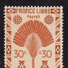 Sellos: MADAGASCAR (1943). EL ÁRBOL DEL VIAJERO. YVERT Nº 268. NUEVO** CON FIJASELLOS.. Lote 293837853