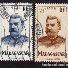 Sellos: MADAGASCAR (1946). CORONEL JOFFRE. YVERT NÚM. 317-318. USADOS.. Lote 293838998