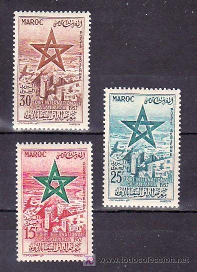 MARRUECOS AEREO 103/5, CON CHARNELA, FERIA INTERNACIONAL DE CASABLANCA, (Sellos - Extranjero - África - Marruecos)