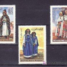 Sellos: MARRUECOS 582/3, AEREO 116 CON CHARNELA, TRAJES,. Lote 161981564