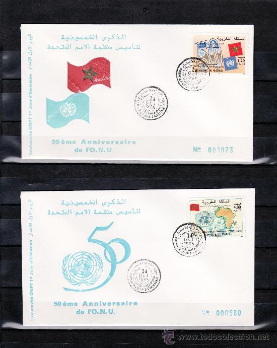 MARRUECOS 1182/3 PRIMER DIA, 50º ANIVERSARIO DE LA ORGANIZACION DE LAS NN.UU., (Sellos - Extranjero - África - Marruecos)