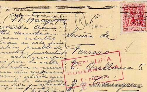 CENSURA GUBERNATIVA TANGER. SELLO AÑO SANTO 1943 ESPAÑA, SOBRE POSTAL DE SAN SEBASTIAN (Sellos - Extranjero - África - Marruecos)