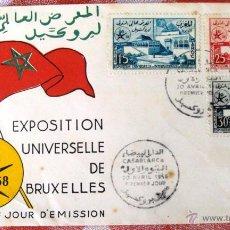 Sellos: SOBRE SELLO PRIMER DIA 1958 MARRUECOS EXPOSICION UNIVERSAL DE BRUSELAS. Lote 52361171