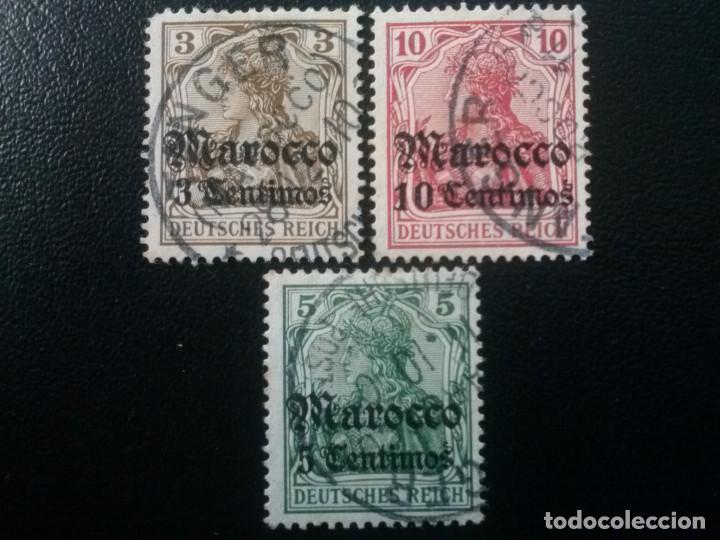 MARRUECOS ALEMÁN, YVERT Nº 33 , 34 Y 35 , 1905-11 (Sellos - Extranjero - África - Marruecos)