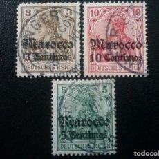 Sellos: MARRUECOS ALEMÁN, YVERT Nº 33 , 34 Y 35 , 1905-11. Lote 89675236