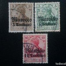 Sellos: MARRUECOS ALEMÁN, YVERT Nº 45 , 46 Y 47 , 1911. Lote 89676452
