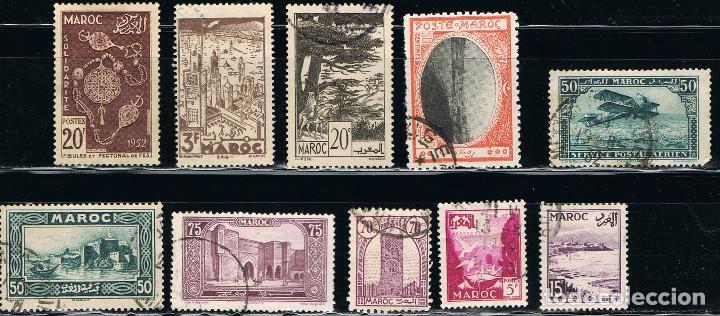 MARRUECOS - LOTE DE 10 SELLOS - VARIOS ANTIGUOS (USADO) LOTE 2 (Sellos - Extranjero - África - Marruecos)