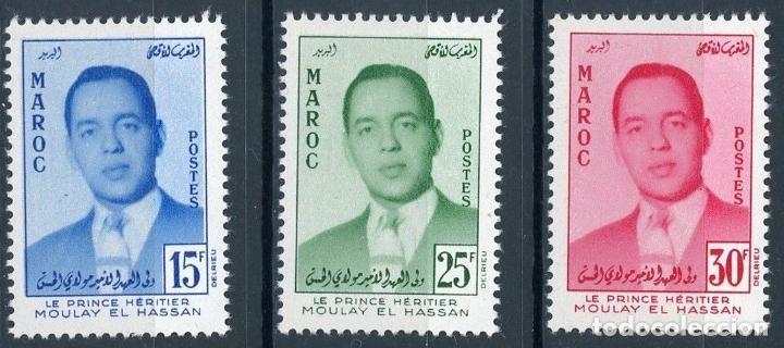 MARRUECOS 1957 IVERT 377/9 * MOULAY HASSAN - PRINCIPE HEREDERO - MONARQUÍA (Sellos - Extranjero - África - Marruecos)