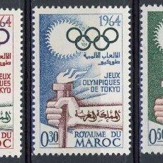 Sellos: MARRUECOS 1964 IVERT 476/8 * JUEGOS OLIMPICOS DE TOKYO - DEPORTES. Lote 114146839