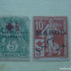 Sellos: MARRUECOS FRANCÉS 1914. PRO CRUZ ROJA. YVERT 59 Y 61. NUEVOS, CON CHARNELA. . Lote 121822855