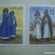 Sellos: MARRUECOS 1969. VESTIMENTA FEMENINA TRADICIONAL. SERIE COMPLETA. YVERT 582-583. NUEVOS.. Lote 122157327