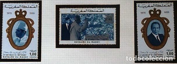 SERIE COMPLETA YVERT 738/40, CON GOMA ORIGINAL.ANIVERSARIO DE LA INDEPENDENCIA (Sellos - Extranjero - África - Marruecos)