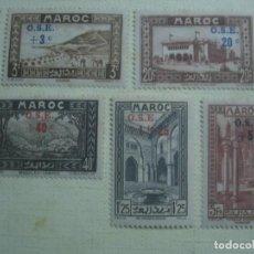 Sellos: MARRUECOS FRANCÉS 1938. SERIE PRO INFANCIA. YVERT 154-156, 158 Y 160. SOBRECARGADOS. MH.. Lote 123917575