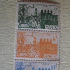 Timbres: MARRUECOS FRANCÉS 1947. YVERT 257, 258A Y 260. JARDINES DE FEZ. NUEVOS SIN CHARNELA.. Lote 127577447