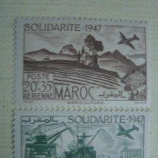 Sellos: MARRUECOS FRANCÉS 1948. CORREO AÉREO. SOLIDARIDAD. YVERT PA65-PA66. SERIE COMPLETA. MNH. Lote 127796355